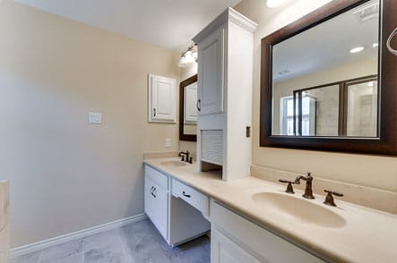 Newly remodeled bathroom with wood accents