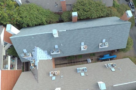 Aerial view of roofing