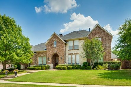 Front view of gorgeous upscale residential home
