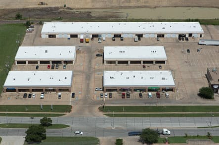 Aerial view of commercial roofing