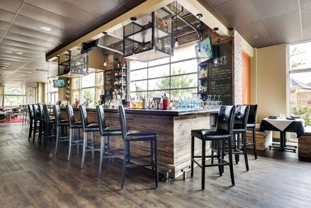 Modern bar with several stools