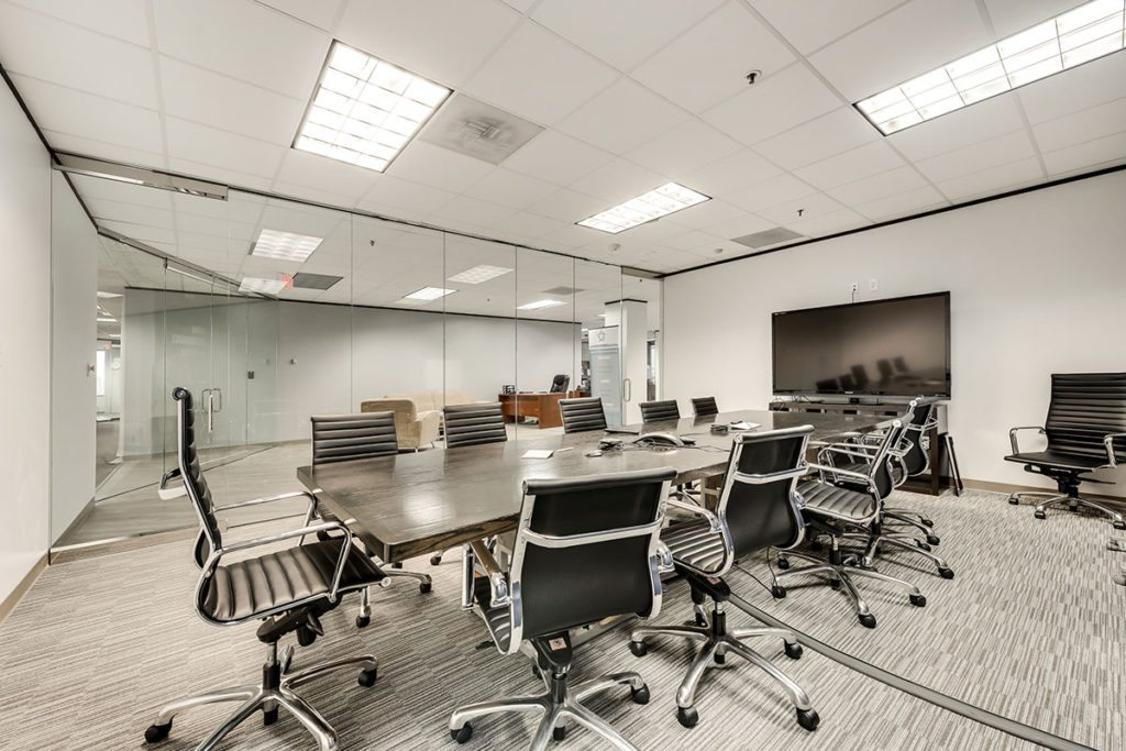 Large conference room with flat screen TV