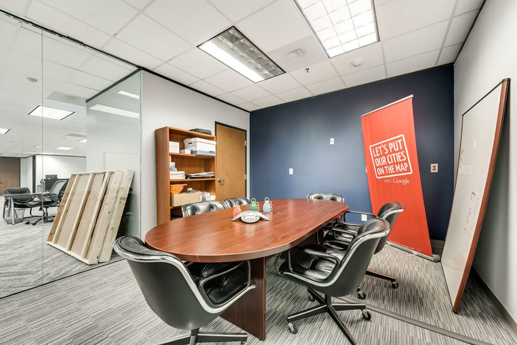 Conference room with wood table