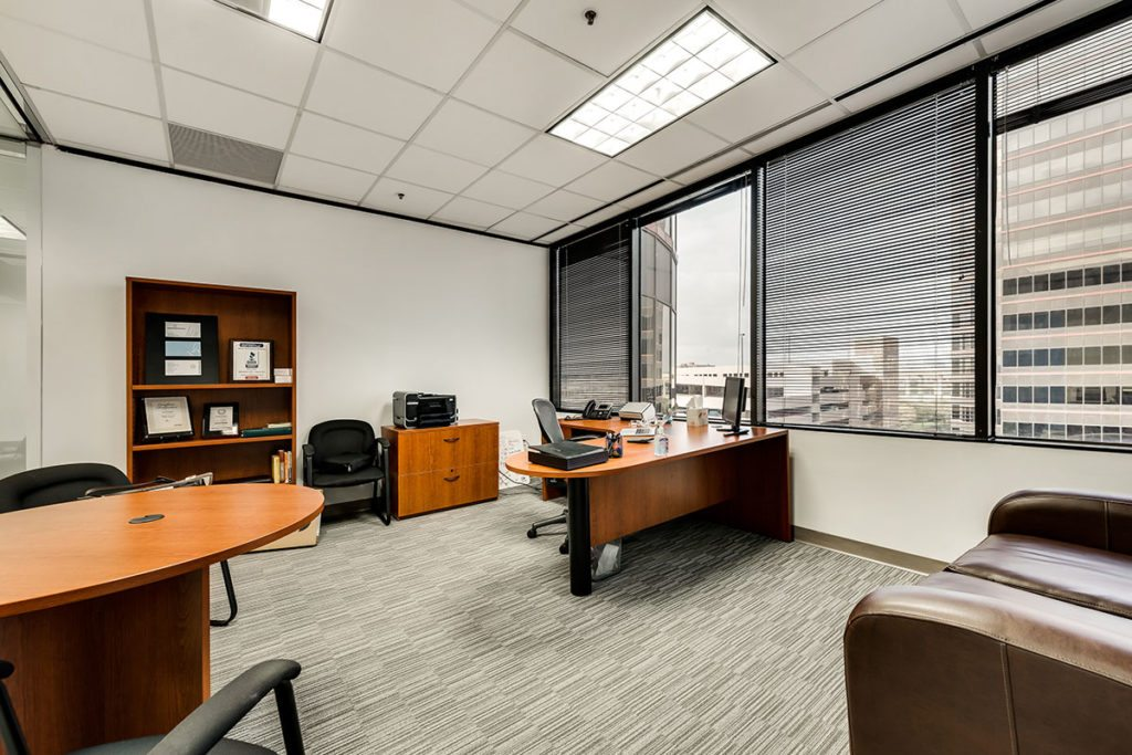 Corner angle of large office with a view outside