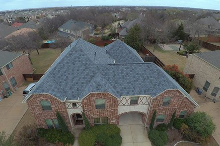 Aerial view of expensive residential home