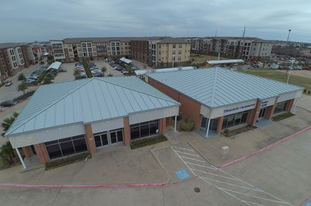 Aerial view of roofing on commercial buildings