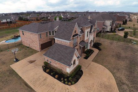Aerial view roofing
