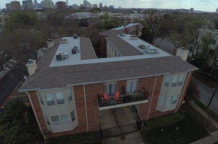 Aerial view of apartment building roofing