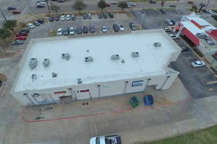 Aerial view of commercial flat roof
