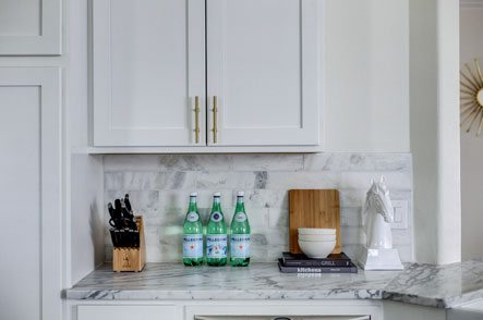 Kitchen counter top with various items