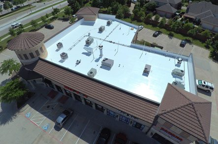 Aerial view of flat roofing